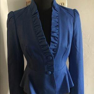 Blue Peplum Button Blazer. INC. Size S.